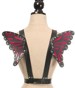 Daisy Corsets Black/Fuchsia Vegan Leather Butterfly Wings