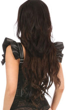 Load image into Gallery viewer, Daisy Corsets Black Vegan Leather Bustier Top w/Ruffle Sleeves (S-5xl)