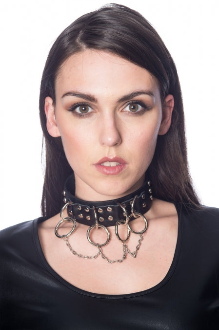 Banned Alternative Ring and Chain Studded Collar