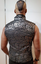 Load image into Gallery viewer, Punk Rave Silver Damask Gothic Batwing Vest