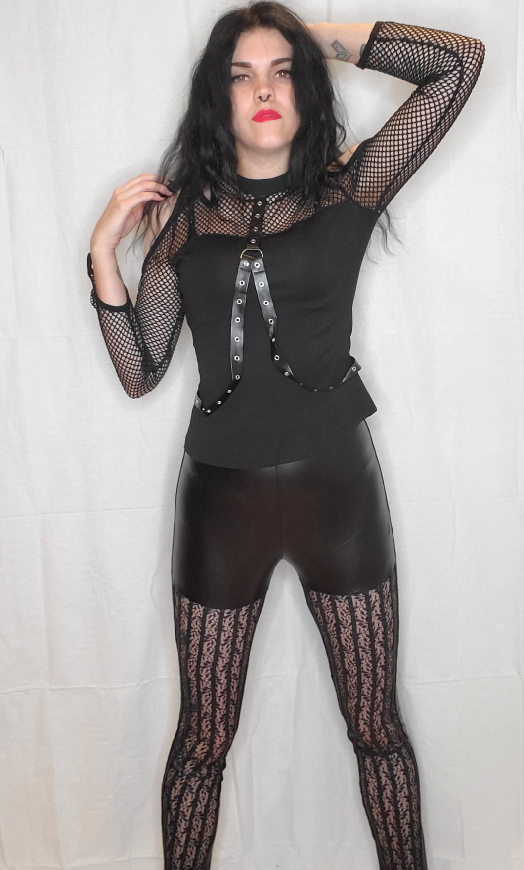 Dark in Love Pleather and Lace Leggings
