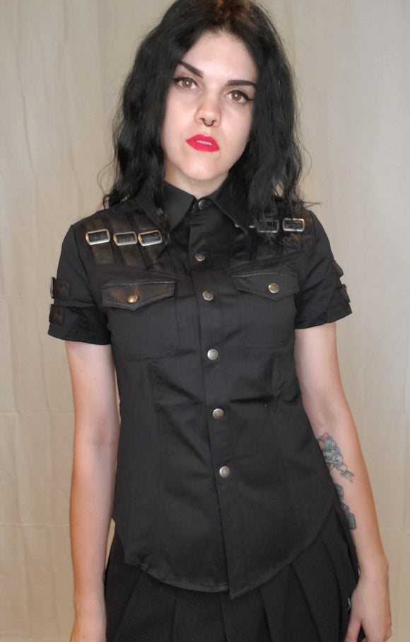 Punk Rave Gothic Military Top
