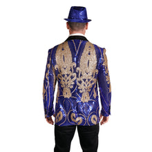 Load image into Gallery viewer, Royal Blue and Gold Sequin Party Blazer