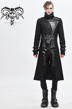Load image into Gallery viewer, Devil Fashion Men's Dystopia Coat with Vegan Leather Details and Standing Collar