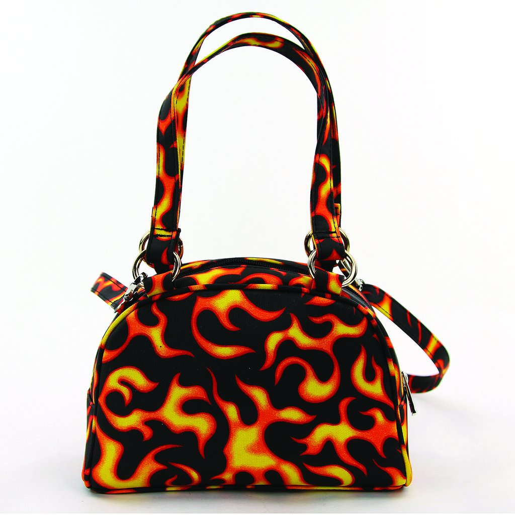 Hot As Flames.  Small Satchel In Canvas Material