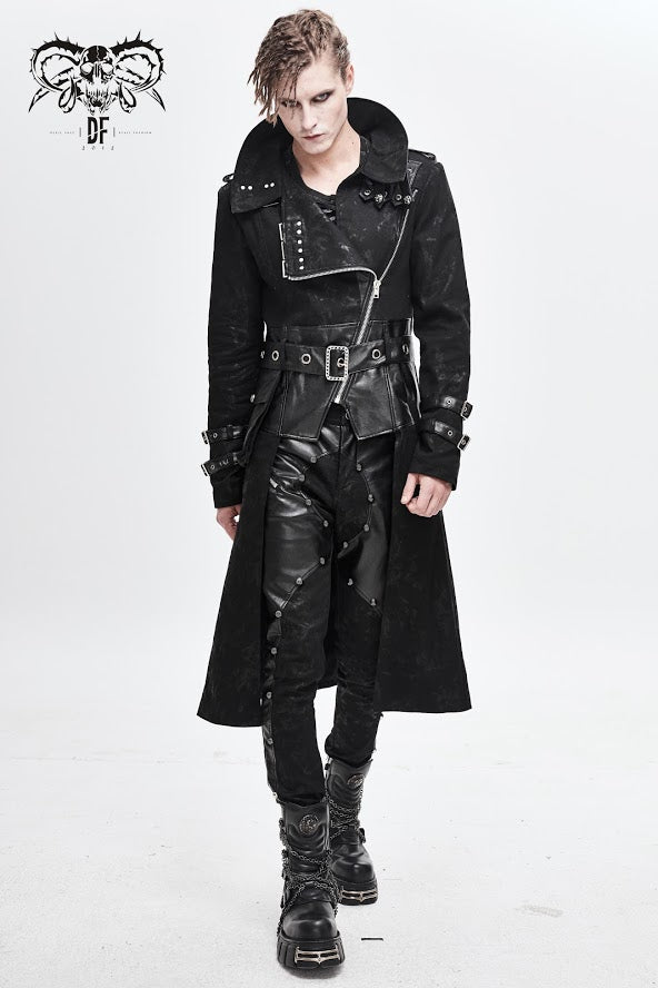 Devil Fashion Men's Dystopia Coat with Vegan Leather Details and Standing Collar