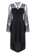 Load image into Gallery viewer, Dark in Love Gothic Cross Front Sheer Dress with Flower Sleeves