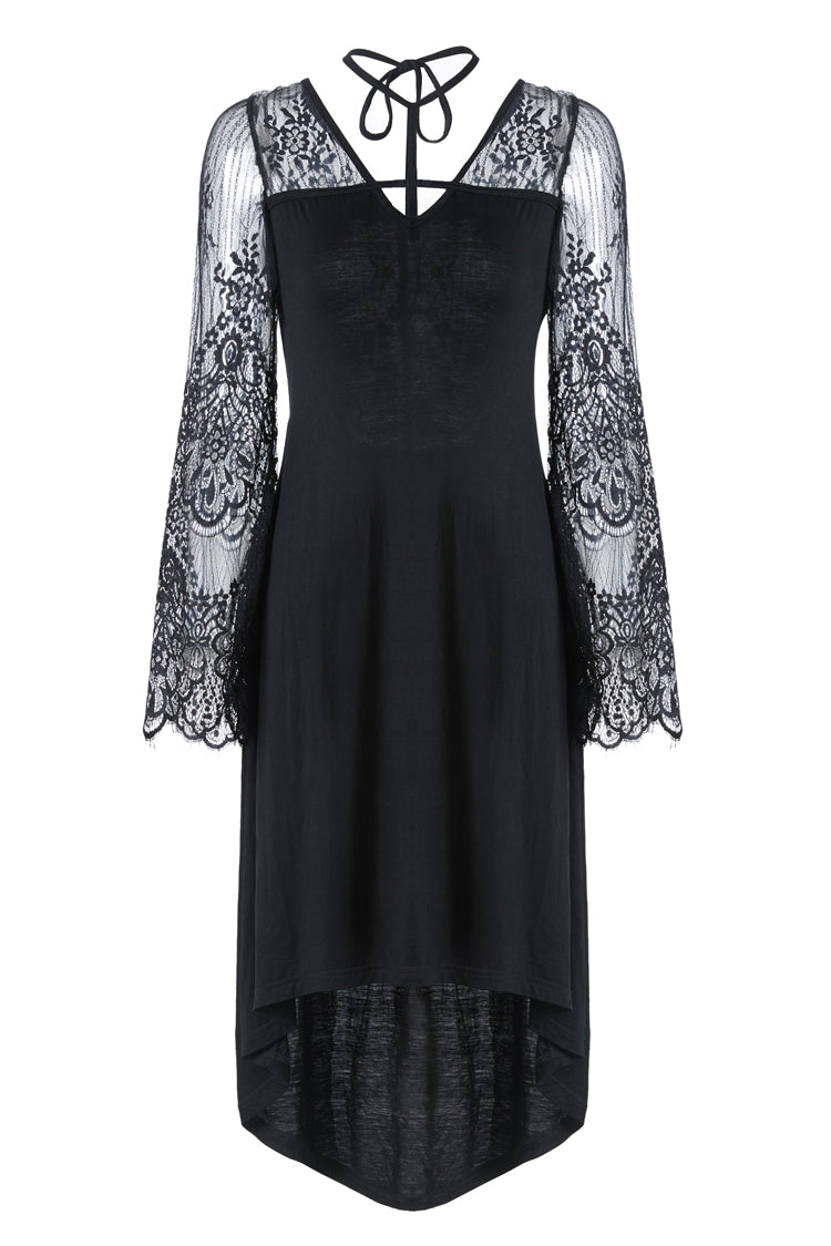 Dark in Love Gothic Cross Front Sheer Dress with Flower Sleeves