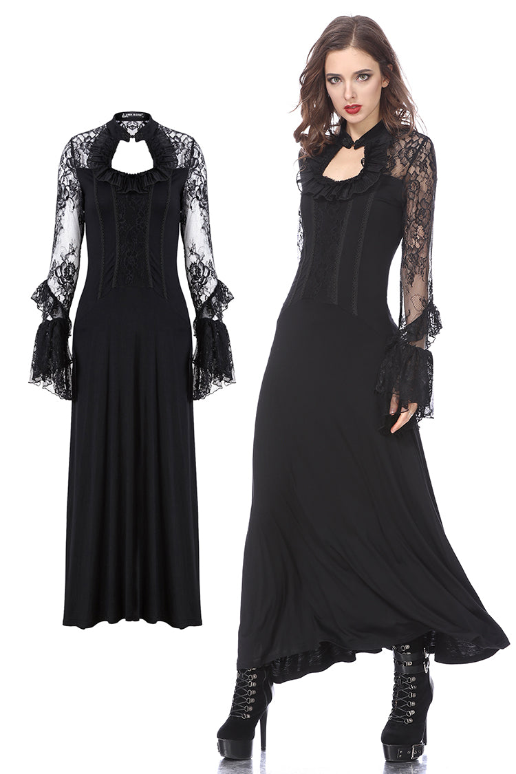 Dark in Love Gothic Long Lace Knitted Dress