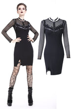 Load image into Gallery viewer, Dark in Love Punk Metal Studded Mesh Midi Dress