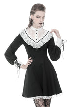 Load image into Gallery viewer, Dark in Love Black Lolita Dress with White Triangle Lace