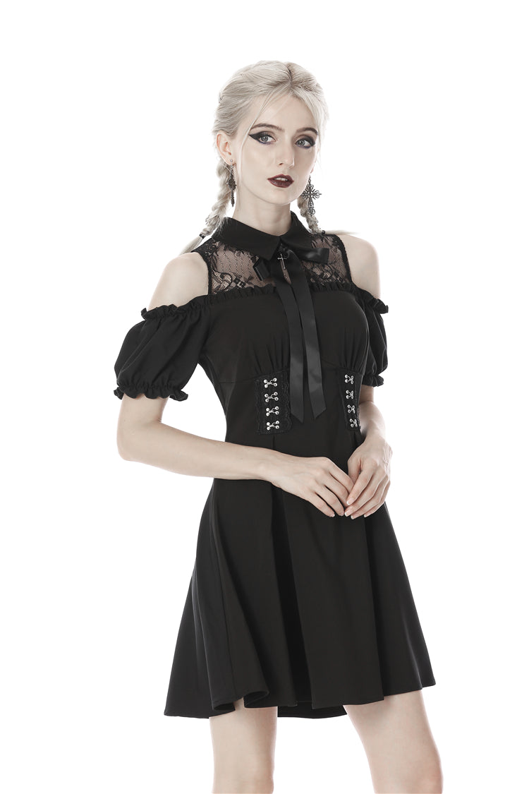 Dark in Love Gothic Lolita Cold Shoulder Collar Bow Dress