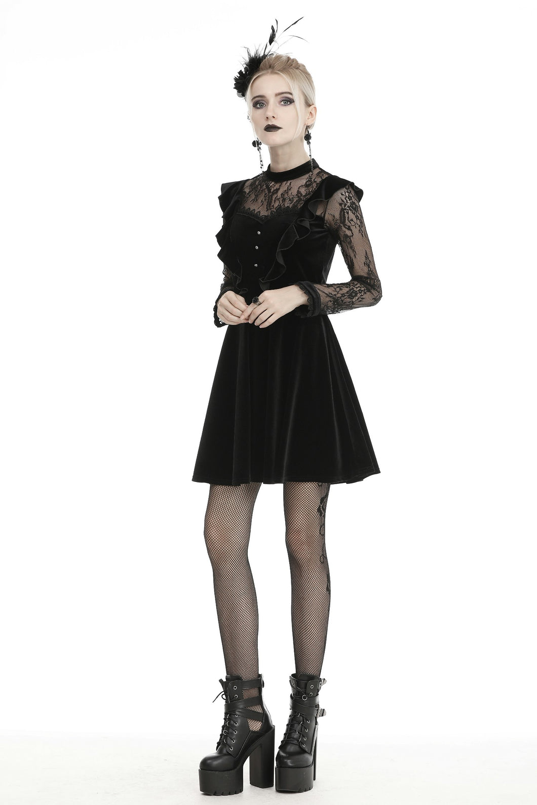 Dark in Love Gothic Lolita Frilly Lace Velvet Dress