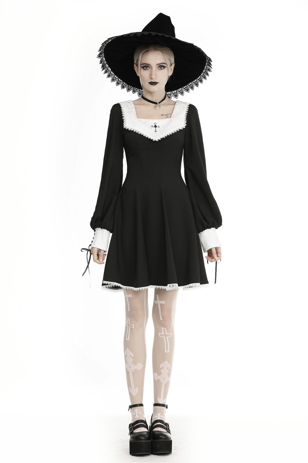 Dark in Love Gothic Ghost White Collar Dress