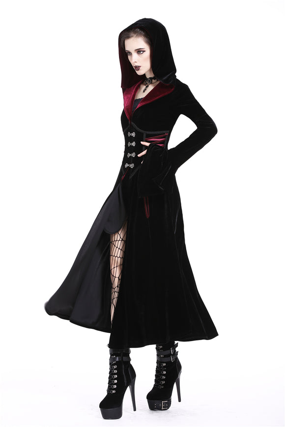 Dark in Love Red and Black Hooded Velvet Lace-Up Jacket