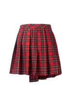 Load image into Gallery viewer, Dark in Love Red Pleated Plaid Punk Mini Skirt