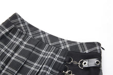 Load image into Gallery viewer, Dark in Love Black Pleated Plaid Punk Mini Skirt