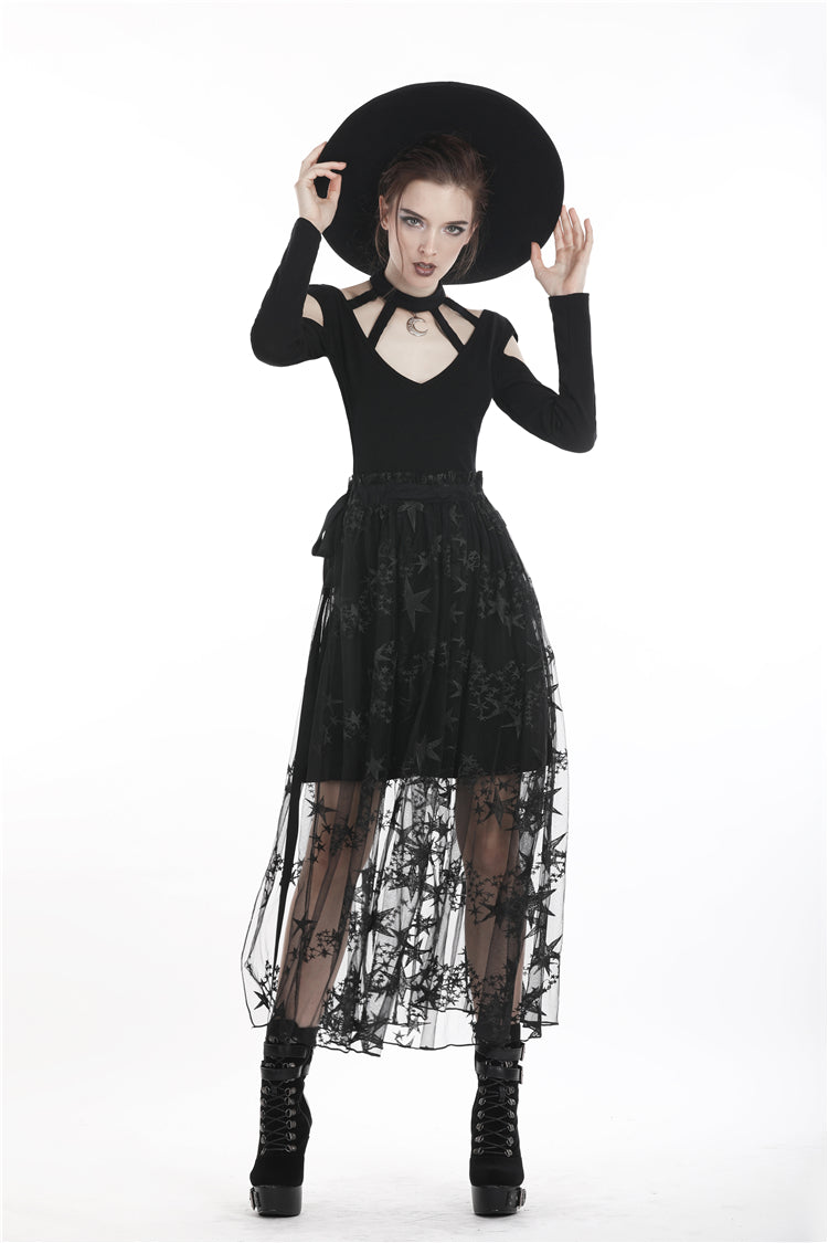 Dark in Love Black Star Sheer Mesh Skirt
