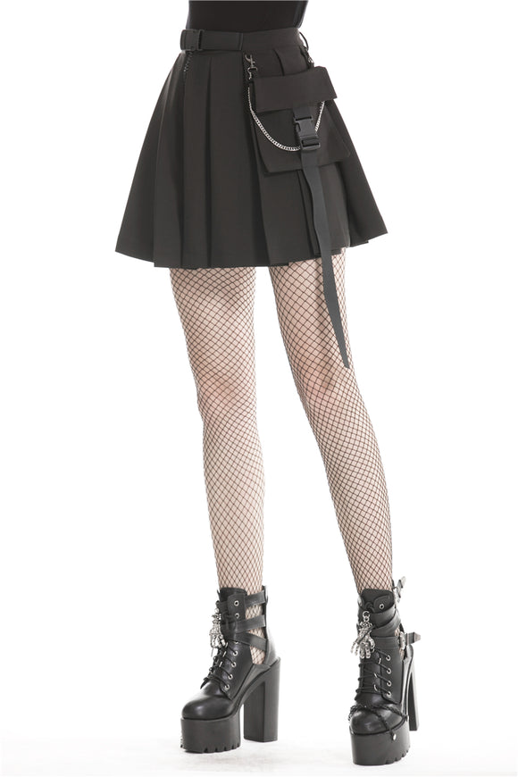 Dark in Love Black Pleated Miniskirt with Hip Pouch