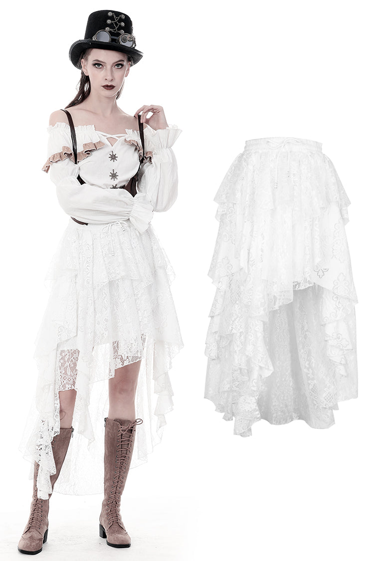 Dark in Love Punk White Irregular Lace Cocktail Skirt