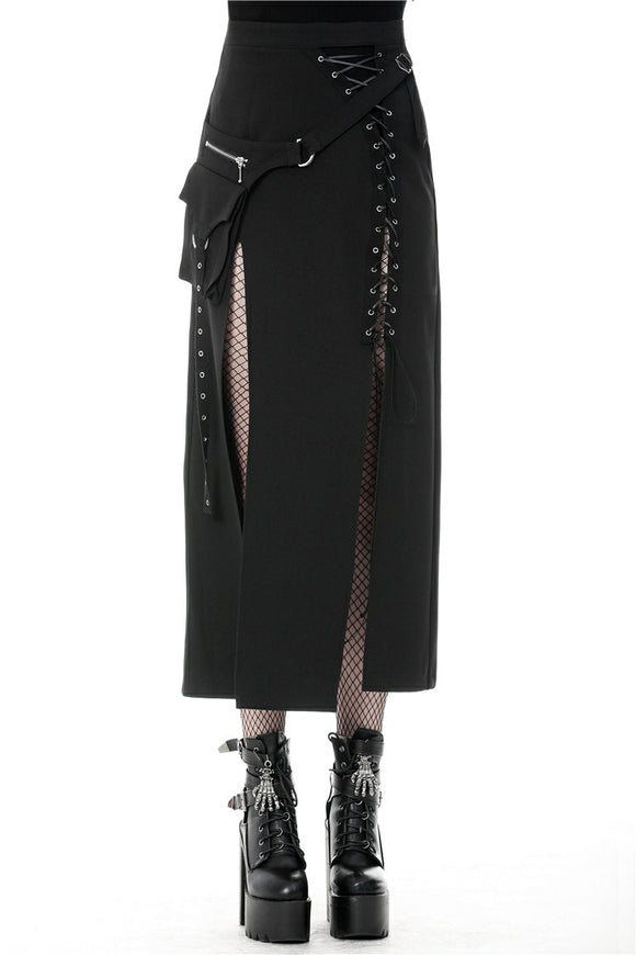 Dark in Love Long Slit Skirt with Hip Pouch