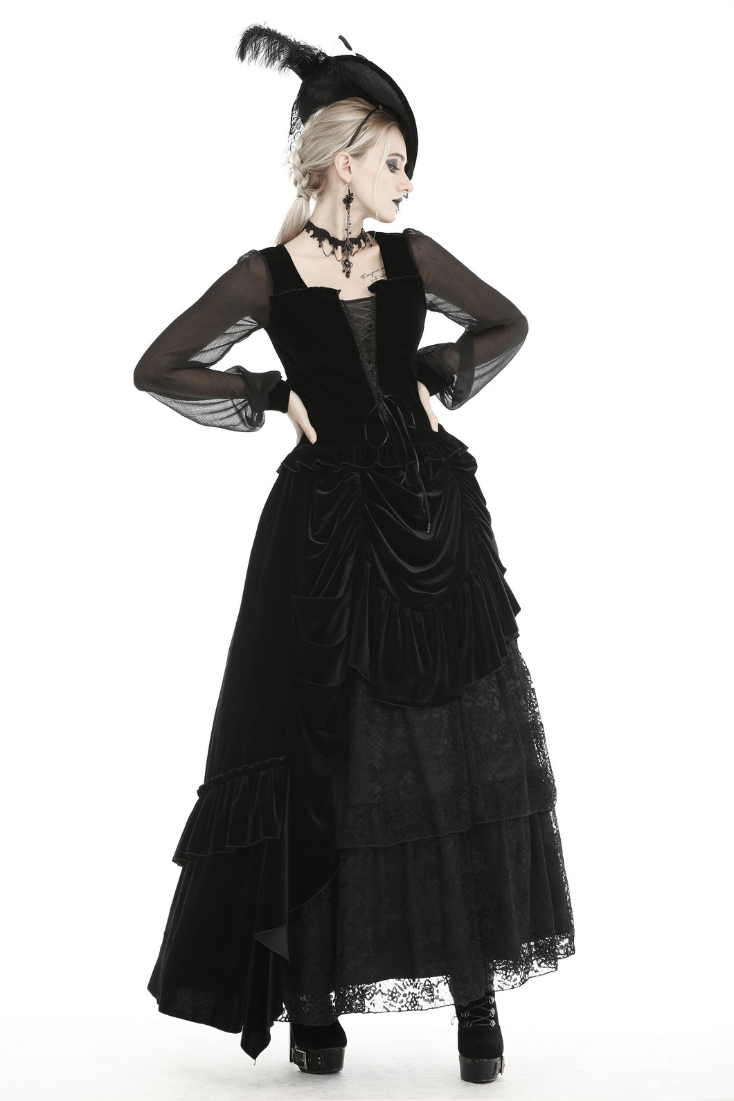 Dark in Love Gothic Queen Long Ruffled Velvet Skirt
