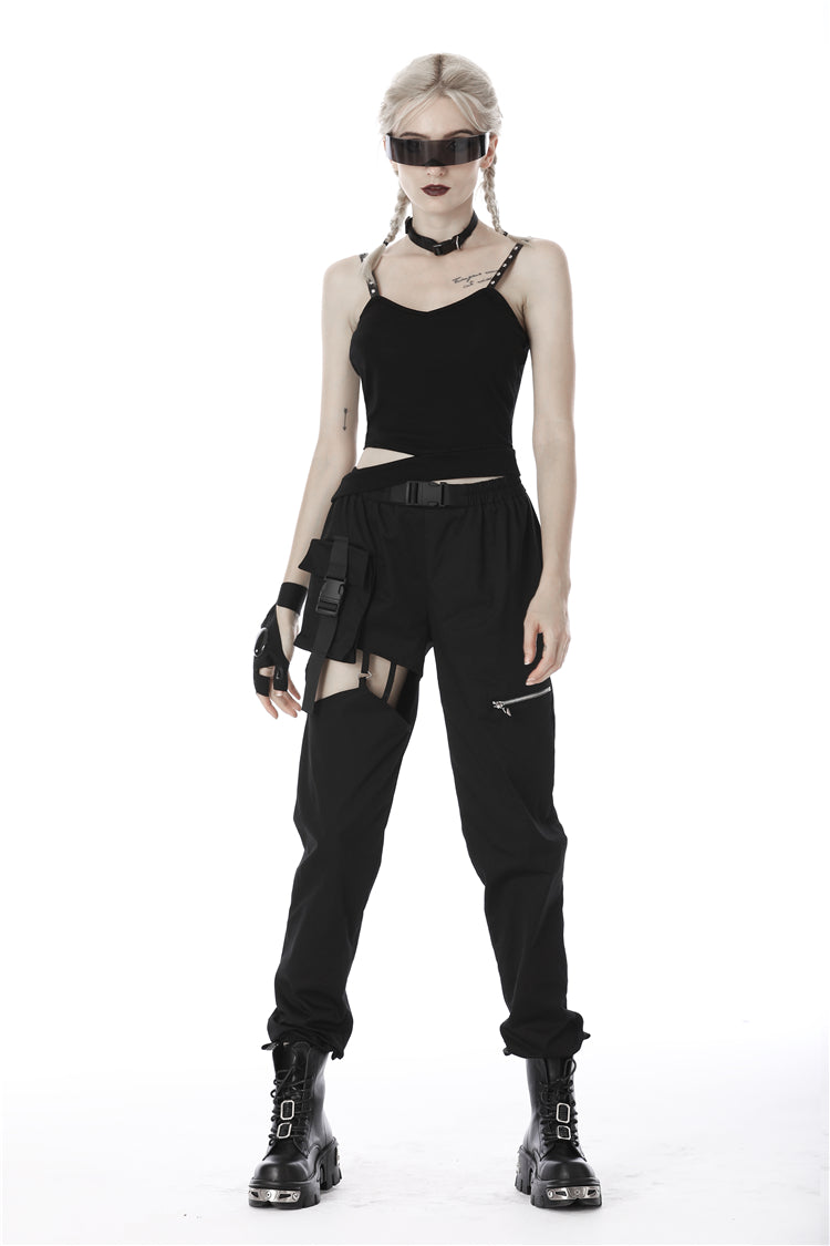 Dark in Love Cut-Out Thigh Pants with Attached Pouch