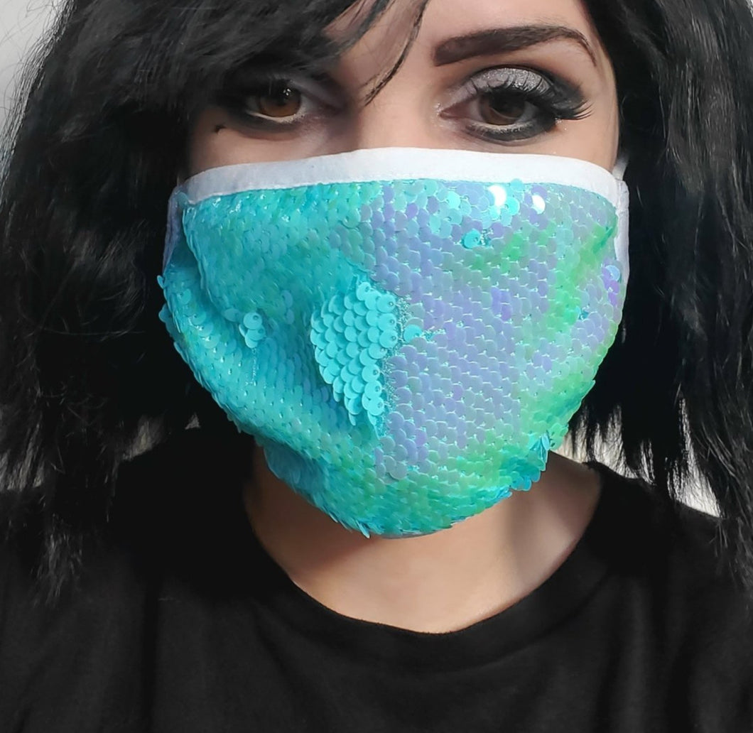 Teal Sequin Mermaid Mask