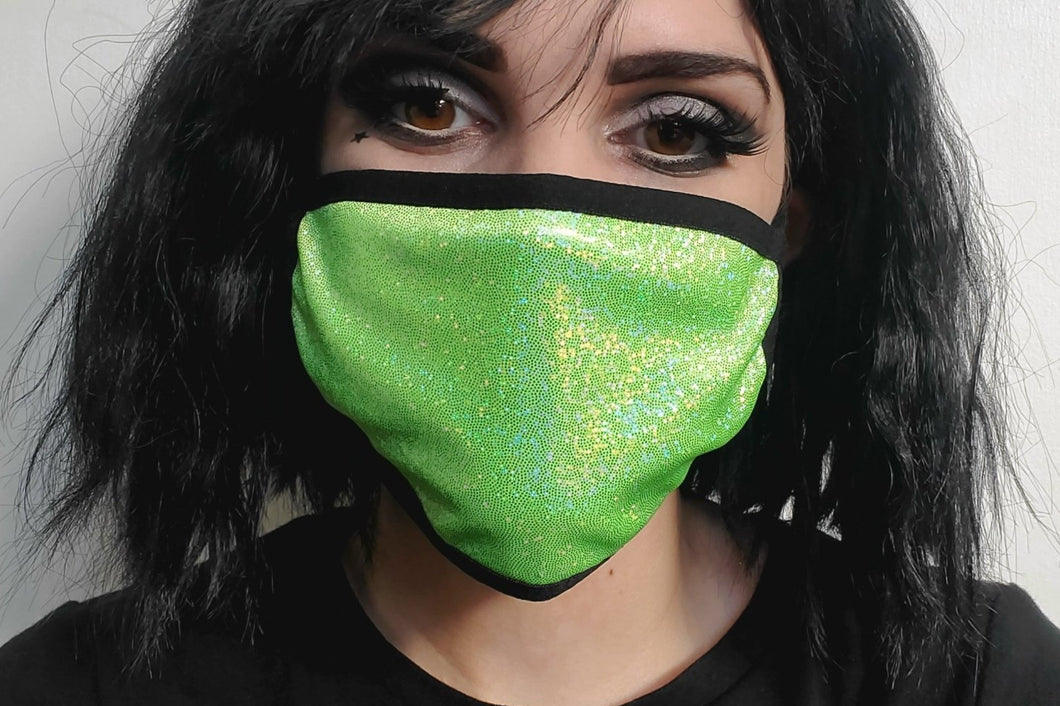 Lime Green Sparkly Mask