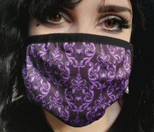 Load image into Gallery viewer, Purple Damask Spiders Mask