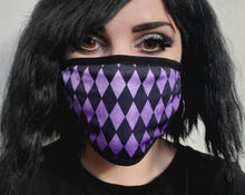 Load image into Gallery viewer, Purple Harlequin Pattern Mask
