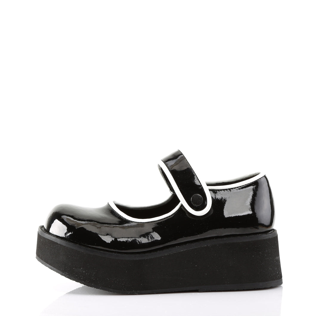 Demonia Sprite-01 Platform Mary Janes in Black and White Patent