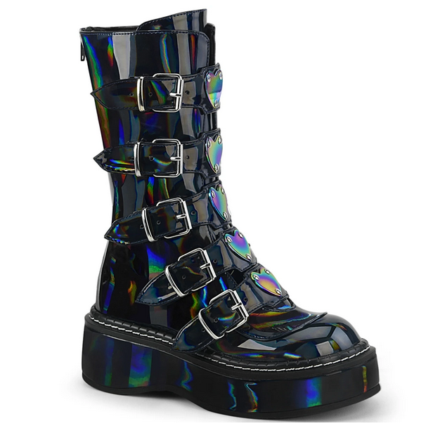 Demonia Emily-330 in Black Hologram Vegan Leather