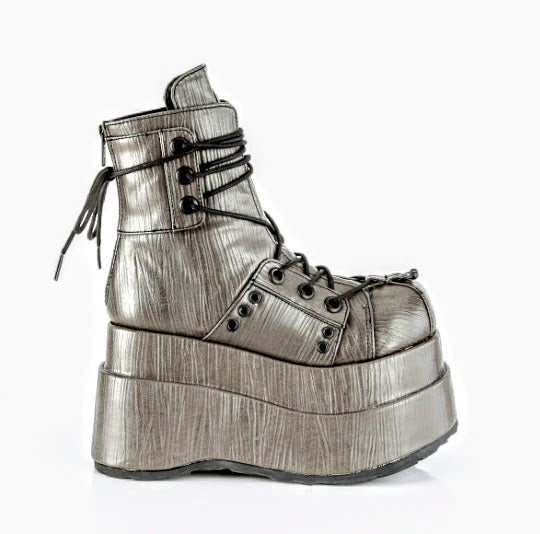 Demonia Bear-120 Grey Textured Vegan Leather*