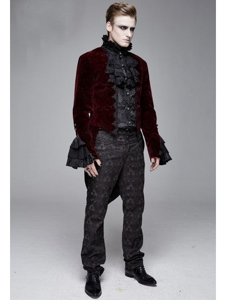 Devil Fashion Victorian Gothic Tailcoat in Burgundy