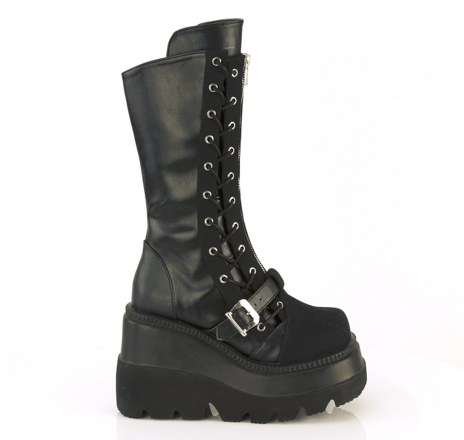 Demonia Shaker-71* Black Vegan Leather and Black Canvas