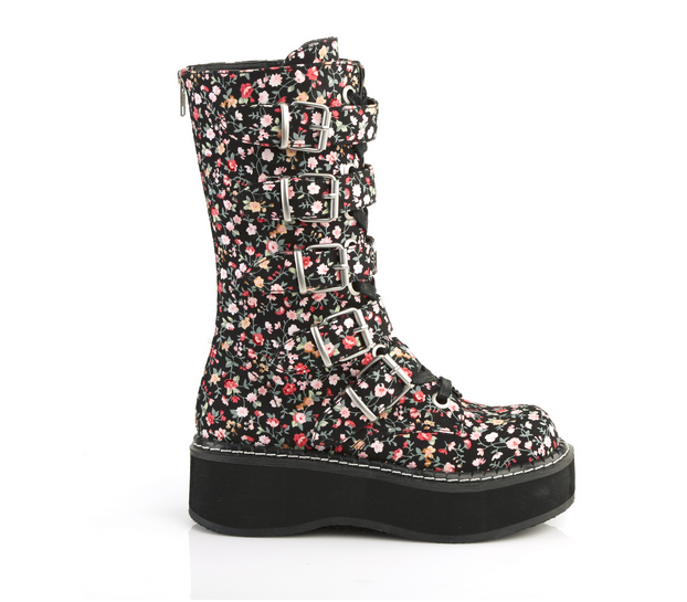 Demonia Emily-340 Platform Boots in Floral Fabric