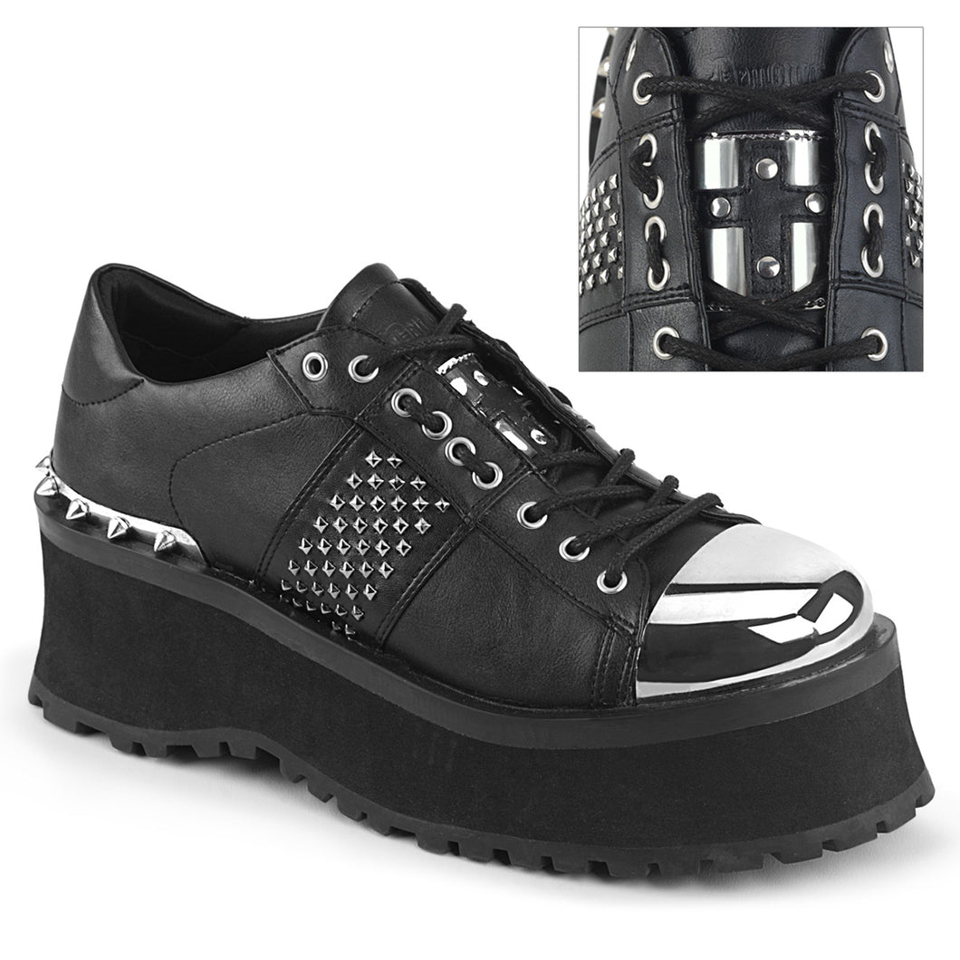 Demonia Gravedigger-02 Studded Shoe in Black Vegan Leather