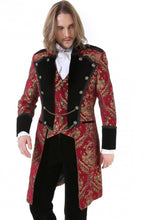 Load image into Gallery viewer, Pentagramme Men's Red and Gold Brocade Tailcoat