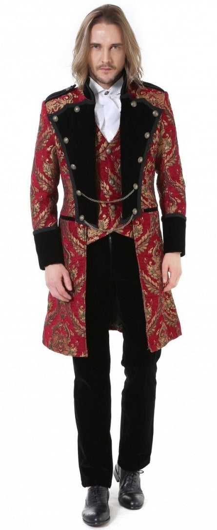 Pentagramme Men's Red and Gold Brocade Tailcoat