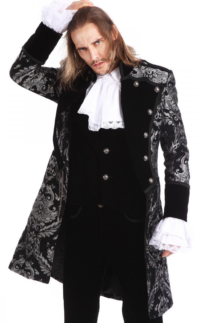Pentagramme Men's Black and Silver Brocade Tailcoat