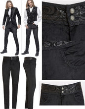 Load image into Gallery viewer, Pentagramme Men's Black Velvet Gothic Trousers with Faux Leather Details