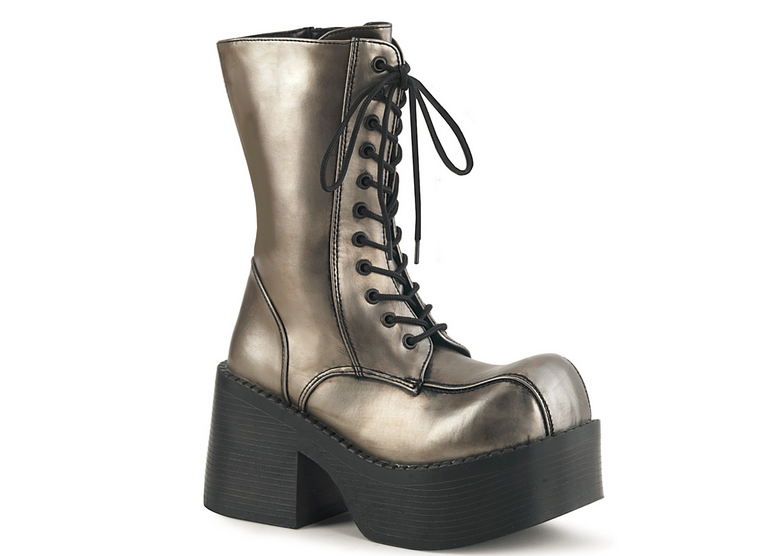 Demonia Platoon-202 in Pewter Vegan Leather/