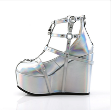 Load image into Gallery viewer, Demonia Poison-25-2 Platform Sandals in Silver Holographic Vegan Leather