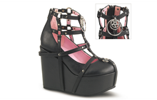 Load image into Gallery viewer, Demonia Poison-25-1 Platform Sandals in Black Vegan Leather