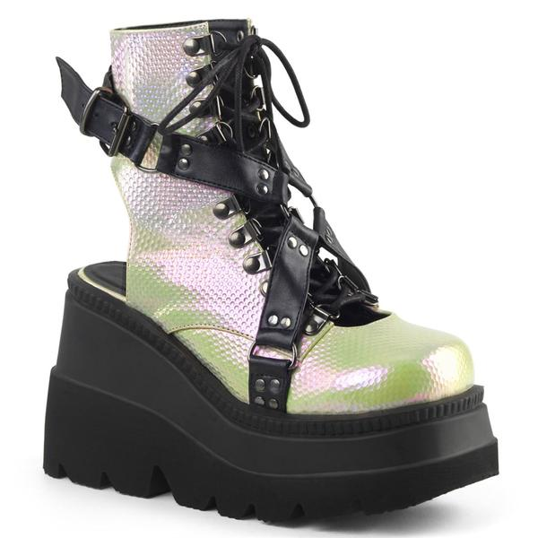 Demonia Shaker-56 Black and Green Open Heel Wedge
