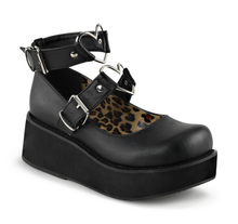 Load image into Gallery viewer, Demonia Sprite-02 Platform Mary Janes in Black Vegan Leather