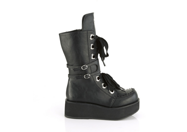 Demonia Sprite-210 in Matte Black Vegan Leather