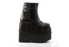 Load image into Gallery viewer, Demonia Stack-201 Patchwork Platform Boots in Black Vegan Leather