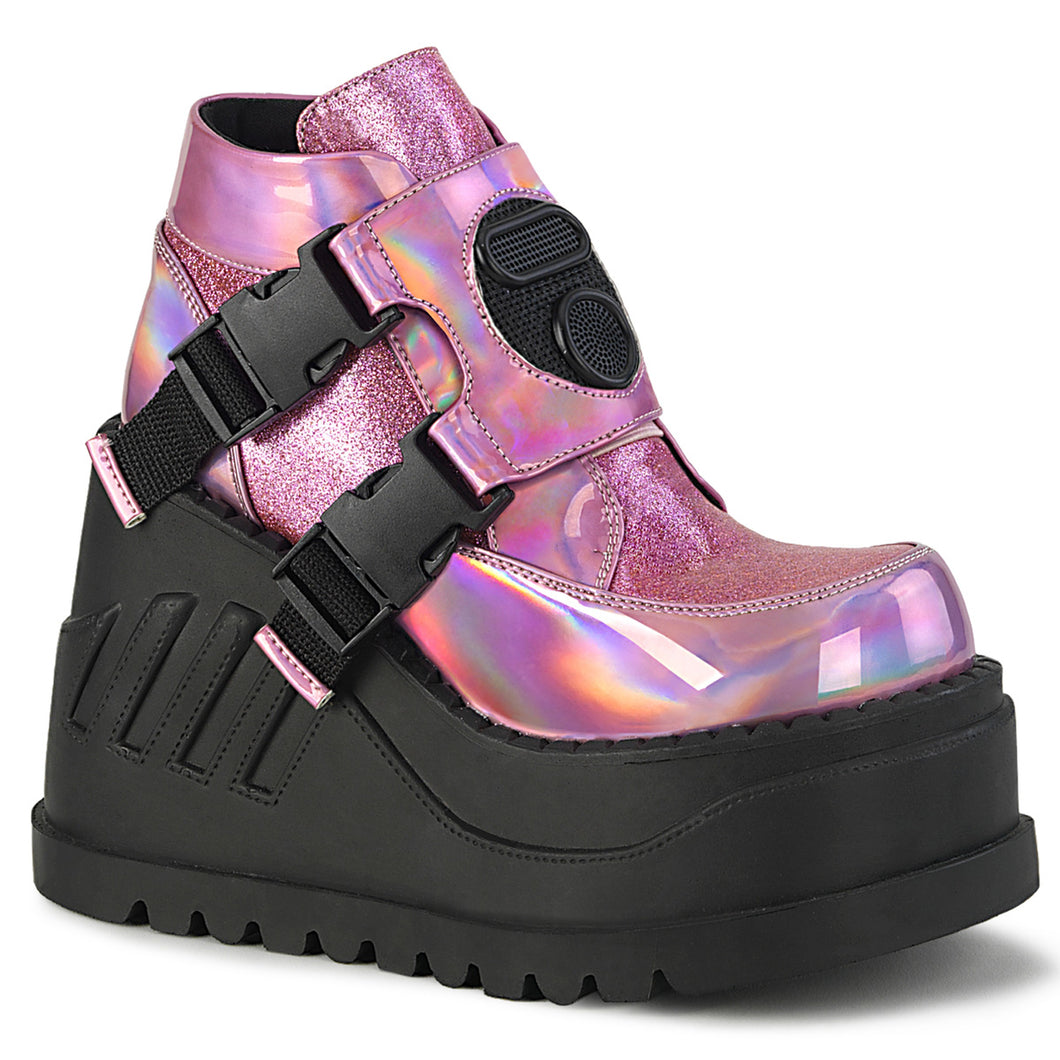 Demonia Stomp-15 in Pink Holographic Glitter#